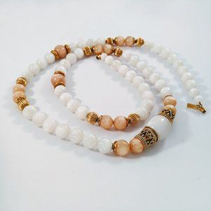 1928 Company White & Peach Beads Necklace